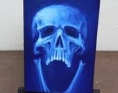 "4x6"" Original Oil Painting - Human Skull Painting -  Neon Fluorescent Blue Screaming Skull - Macabre Decor Wall Art Gift for Men"