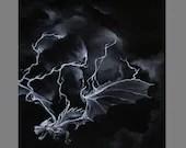 "Art PRINT - Lightning Dragon Dark Black White - Scary Horror Spooky Fantasy Animal Wall Art - Choose Size 8x8"", 10x10"" 12x12"" PRINTS"
