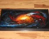 "12x24"" Original Oil Painting - Messier 106 Galaxy Nebula Outer Space Deep Space Astronomy Stars Starry Wall Art"