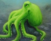 "6x6"" Framed Original Mini Painting, Oil Painting - Lime Octopus Seacreature Wall Art"