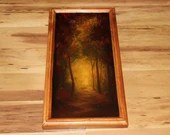 """8x16"""" Original Oil Painting - Autumn Path Fall Leaves Red Orange Brown Enchanted Forest Dark Art - Landscape Wall Art"""