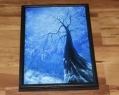 "12x16"" Original Oil Painting - Enchanted Forest Blue White Frozen Snowy Trees Treetops Snow Winter - Landscape Wall Art"
