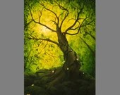 "Art PRINT - Green Treetops Enchanted Dark Forest Trees Vines Flowers -  Landscape Wall Art - Choose Size 4x6"" 5x7"" 8x10"" 12x16"" PRINTS"