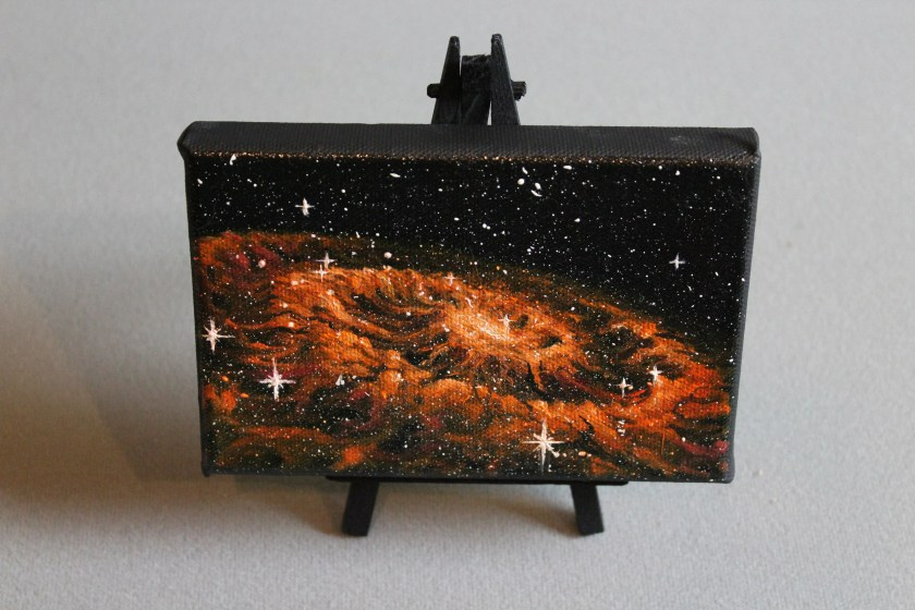 """4x6"""" Original Mini Oil Painting - Orange Rippled Galaxy Nebula Outer Space Starry Spacescape - Small Canvas Wall Art"""