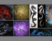"4x4"", 2x6"" Magnet Dragon Dragons Fantasy Creature Monster Art Print Refrigerator Thin Flat Square Magnet"