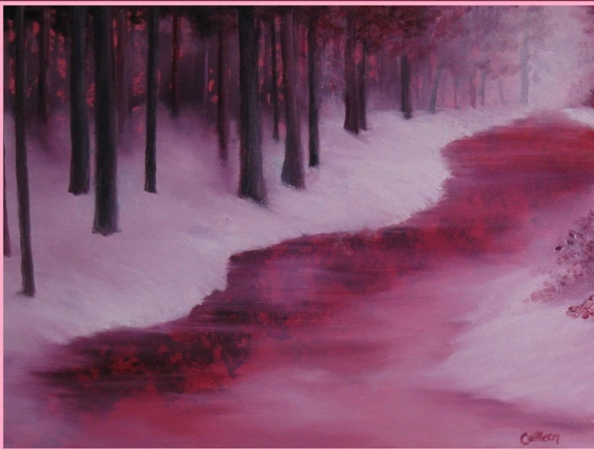 "12x16"" Original Oil Painting - Crimson Misty Morning River Wall Art"