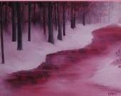 "12x16"" Original Oil Painting - Crimson Misty Morning River Wall Art"