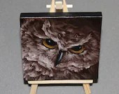 "RESERVED COMMISSION - Original Mini Painting - (4x4"") Brown Owl Animal Oil Painting on Canvas with Easel, Apartment Decor, Small Gift"