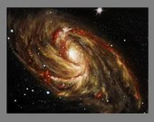 "Art PRINT - Gold Red Galaxy - Outer Space Nebula Astronomy Wall Art - Choose Size 4x6"" 5x7"" 8x10"" 12x16"" PRINTS"