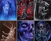 "3x4"" Magnet Skull Skeleton Human Skulls Skeletons Fantasy Macabre Horror Art Print Refrigerator Thin Flat Magnet Stocking Stuffers"
