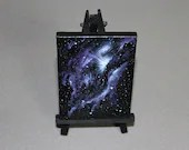 "Original Mini Painting - (3x4"") Deep Space Dark Purple Galaxy Nebula Bright Stars Starry Sky - Oil Painting on Easel - Dollhouse Painting"