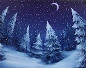 "12x16"" Original Oil Painting - Softly Falling Snow - Crescent Moon Snowy Forest - Moonlit Christmas Trees -  Landscape Wall Art"