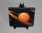 "Original Mini Painting - (3x4"") Deep Space Orange Saturn Planet Galaxy Shining Stars Starry - Oil Painting on Easel - Dollhouse Painting"