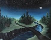 "16x20"" Original Oil Painting - Moonlit Log Cabin Across the River Landscape - Canvas Wall Art"