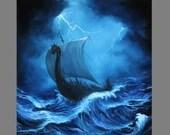 "Art PRINT - Lightning Viking Longboat Dark Blue Foggy Night Ship Sailing Ocean - Seascape Wall Art - Choose Size 8x8"", 10x10"" 12x12"" PRINTS"
