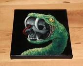 "6x6"" Original Oil Painting - Snake Skull Painting -  Macabre Halloween Decor Wall Art Gift for Men"