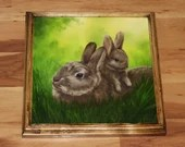 "12x12"" Original Oil Painting - Easter Bunnies Mom and Baby Bunny Rabbit Brown Rabbits Painting -  Forest Creature Animal Wall Art"