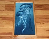 "10x20"" Original Oil Painting - Blue White Jellyfish Tentacles - Underwater Seacreature Oceanlife Wall Art"