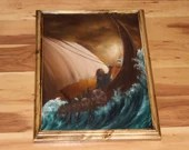 "12x16"" Original Oil Painting - Viking Longboat Dwarves Fantasy Ocean Waves Brown Orange Sunset Sky -  Seascape Wall Art"
