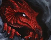 "12x12"" Original Oil Painting - Red Dragon Cave Spooky Macabre Dark Art - Fantasy Canvas Painting Wall Art"