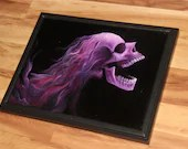 "12x16"" Original Oil Painting - Hard Rock Metal Rocker Hair Screaming Pink Skull Painting - Macabre Halloween Decor Wall Art"
