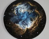"16"" Round Original Oil Painting - NGC 602 Nebula Blue Brown Starry Stars Galaxy - Outer Space Astronomy Science Wall Art"
