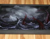 """20x30"""" Original Oil Painting - Giant Tentacles Octopus Monster Horror Macabre Dark Ship Ocean Seascape Black Red - Giant Large Wall Art"""