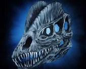 "10x10"" Original Oil Painting - Dinosaur Skull Painting -  Wall Art Gift for Boys Jurassic Park Enthusiast Amateur Paleontologist"