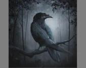 "Art PRINT - Dark Forest Crow Raven Scary Horror Spooky Fantasy Animal Wall Art - Choose Size 8x8"", 10x10"" 12x12"" PRINTS"