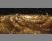 "10x20"" Original Oil Painting - Golden Galaxy Painting - Outer Space Astronomy Galaxy Stars Starry Wall Art"