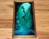"10x20"" Original Oil Painting - Mermaid Underwater Ocean Sea Dark Green Blue Light - Fantasy Wall Art"