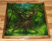 "30x30"" Original Oil Painting - Dance of the Dryads Dancing Forest Tree Spirit Landscape Fantasy Art - Giant Large Wall Art"