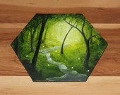 """5-6"""" Original Mini Oil Painting Hexagon Flat Panel - Green Trees River Waterfall Forest Landscape - Small Canvas Wall Art"""