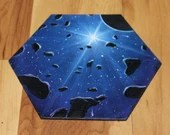"""5-6"""" Original Mini Oil Painting Hexagon Flat Panel - Blue Star Asteroid Belt Planets Outer Space Stars Spacescape- Small Canvas Wall Art"""