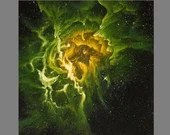 "Art PRINT - Green Yellow RCW 49 Nebula - Outer Space Galaxy Astronomy Wall Art - Choose Size 8x8"", 10x10"" 12x12"" PRINTS"