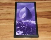 "10x20"" Original Oil Painting - Purple Violet Sailing Ship Sailboat Ocean Sea Waves - Seascape Canvas Wall Art"