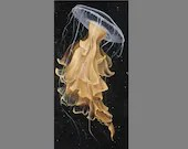 "Art PRINT - Gold Yellow Jellyfish Tentacles Sea Ocean Creature - Choose Size 5x10"", 6x12"" 8x16"" PRINT Seascape Animal Wall Art"