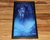 """12x24"""" Original Oil Painting - Ghostly Skeleton Horse Enchanted Woods Dark Spooky Gothic Macabre Art - Fantasy Forest Landscape Wall Art"""