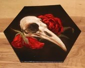 """5-6"""" Original Mini Oil Painting Hexagon Flat Panel - Crow Raven Skull Roses Flowers Red Brown Macabre Horror - Small Canvas Wall Art"""