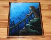 "16x20"" Original Oil Painting - Wistful Lonely Mermaid Fish Underwater Shipwreck Ships Ocean Dark Blue Green - Fantasy Wall Art"