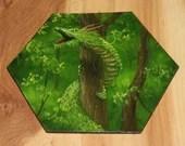 "5-6"" Original Mini Oil Painting Hexagon Flat Panel - Green Asian Dragon Fantasy Creature Forest Landscape - Small Canvas Wall Art"