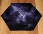 "5-6"" Original Mini Oil Painting Hexagon Flat Panel - Purple Lightning Storm Cloudy Sky Stormy Skies  - Small Canvas Wall Art"