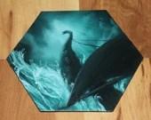 "5-6"" Original Mini Oil Painting Hexagon Flat Panel - Turquoise Viking Longboat Ship Boat Cloudy Ocean Waves Seascape - Small Canvas Wall Art"