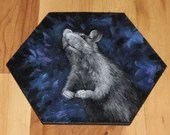 "5-6"" Original Mini Oil Painting Hexagon Flat Panel - Blue Purple Black White Rat Rodent Mouse Animals Animal  - Small Canvas Wall Art"