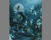 "Art PRINT - Mermaid Queen Sea Snake Jellyfish Coral Underwater Ocean Dark - Fantasy Wall Art - Choose Size 4x6"" 5x7"" 8x10"" 12x16"" PRINTS"