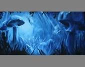 "Art PRINT - Blue Mushroom Forest Fairy Fairies Fae Faerie Fantasy Landscape - Choose Size 5x10"", 6x12"" 8x16"" PRINTSandscape Scenery Wall Art"