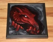 """12x12"""" Original Oil Painting - Red Dragon Cave Spooky Macabre Dark Art - Fantasy Canvas Painting Wall Art"""