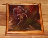 """10x10"""" Original Oil Painting - Autumn Fairy Faerie Fae Pixie in Forest - Wall Art"""