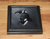 "6x6"" Original Mini Oil Painting - Black White Orca Killer Whale Oceanlife Seacreature - Small Canvas Wall Art"