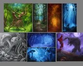 "2x4"", 4x4"" Magnet Forest Enchanted Trees Dark Woods Fantasy Art Print Refrigerator Thin Flat Square Magnet Stocking Stuffers"